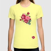 Vintage Floral Stripes -… Womens Fitted Tee Lemon SMALL