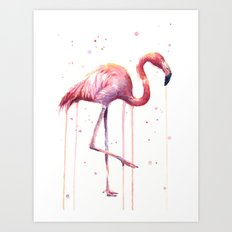Pink Flamingo Portrait   Facing Right Art Print