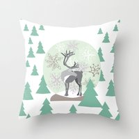 Reindeer Snowglobe Throw Pillow