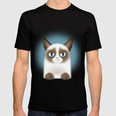 Nope (Grumpy Cat) Mens Fitted Tee Black SMALL