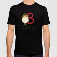 B is for Burrowing Owl Mens Fitted Tee Black SMALL