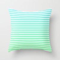 Beach Blanket - Aqua/Green Throw Pillow
