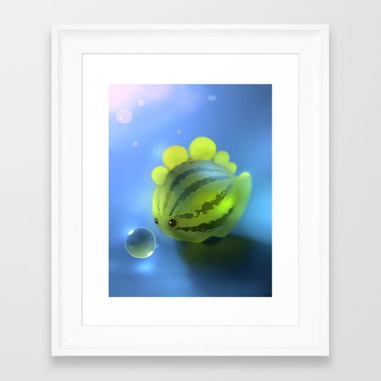 Watermelon Dino Framed Art Print