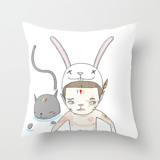 OVER THE BLACK POND Throw Pillow