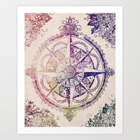 mandala Art Prints featuring Voyager II by Jenndalyn