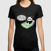 Read panda a story Womens Fitted Tee Tri-Black SMALL