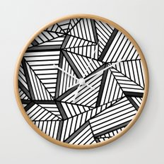 Ab Lines 2 Black and White Wall Clock