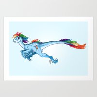 Raptor Rainbow Dash Art Print
