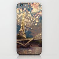 iPhone Cases featuring Love Wish Lanterns over Paris by Paula Belle Flores