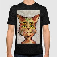 Four Eyed Cat Mens Fitted Tee Tri-Black SMALL
