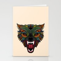 wolf fight flight ecru Stationery Cards