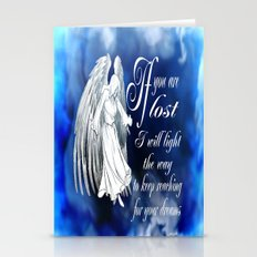 Angels To Guide Me [Blue On Black] Stationery Cards