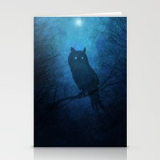 Painted Owl Silhouette Stationery Cards