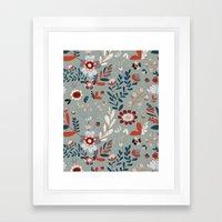 Deep Indigos & Gray Garden Hearts Framed Art Print