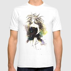 Watercolor Girl SMALL White Mens Fitted Tee