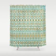 Mint & Gold Tribal Beach Shower Curtain