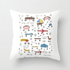 things with wheels Throw Pillow
