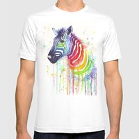 Zebra Watercolor Rainbow… Mens Fitted Tee White SMALL