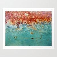 Teal Rust Art Print