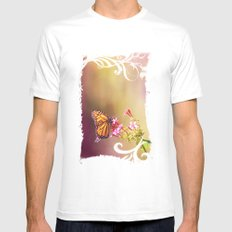 Monarch Rainbows SMALL White Mens Fitted Tee