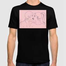 Kiss in Pink Mens Fitted Tee Black SMALL