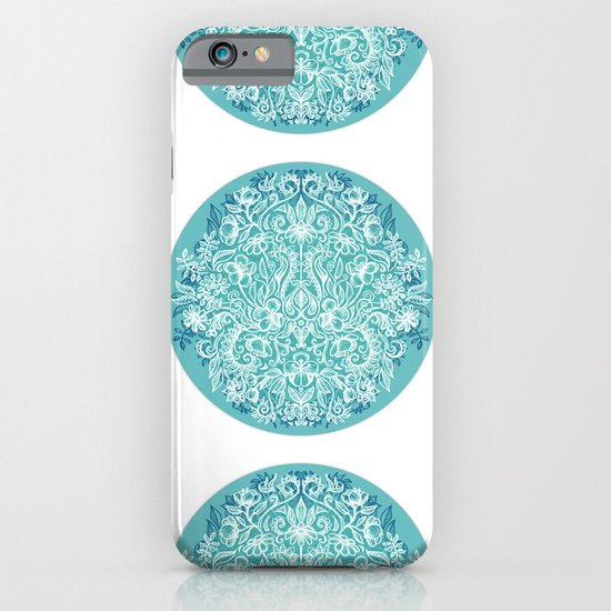 Spring Arrangement - teal & white floral doodle iPhone & iPod Case