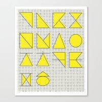 'ㄱ,ㄴ,ㄷ,ㄹ' (Korean Alphabet-Yellow) Canvas Print