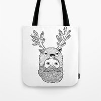 Tote Bag featuring Portrait of Northern Deer Man by Michael C. Hsiung