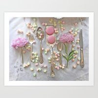 Shabby Chic Peonies Macarons and Vintage Spoon Kitchen Art Art Print