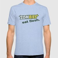 Zombie Eat flesh Mens Fitted Tee Tri-Blue SMALL