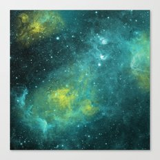 Green Cloud Watercolor Universe Canvas Print