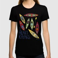 I Heart Kayaks  Womens Fitted Tee Black SMALL