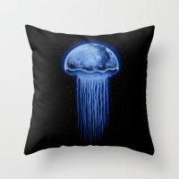 Moon Jellyfish Throw Pillow