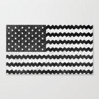 Black Zig Zag Flag Canvas Print