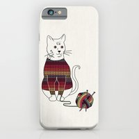 iPhone & iPod Case featuring Knitted Cat by basilique