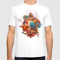 Rhinos Stone Mens Fitted Tee White SMALL