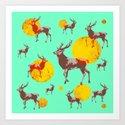 dear deers - christmas Art Print