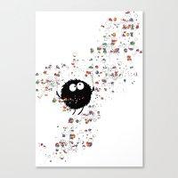 Blowing rainbow bubbles Canvas Print
