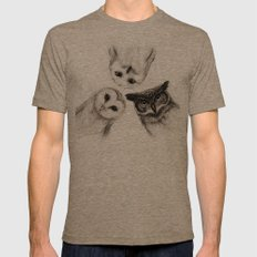 The Owl's 3 Mens Fitted Tee Tri-Coffee SMALL
