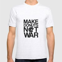 Make Donuts Not War Mens Fitted Tee Ash Grey SMALL