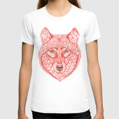 Red wolf Womens Fitted Tee White SMALL