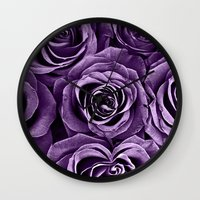 Rose Bouquet In Purple Wall Clock