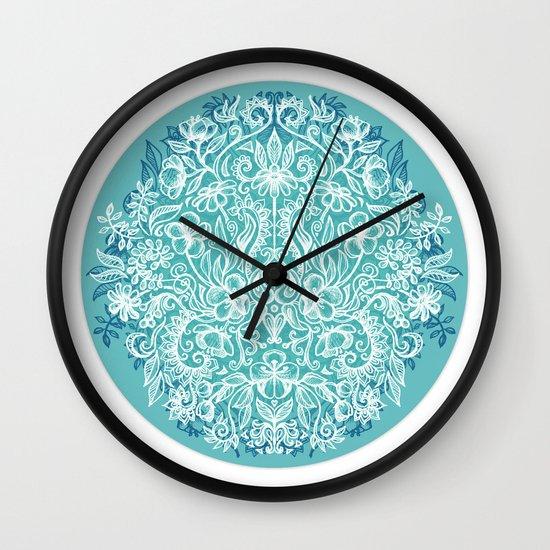 Spring Arrangement - teal & white floral doodle Wall Clock