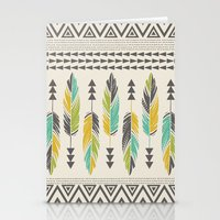 Painted Feathers-Cream Stationery Cards