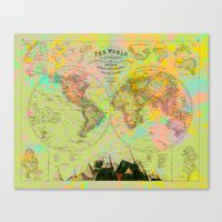 Hemispheres World Map Canvas Print