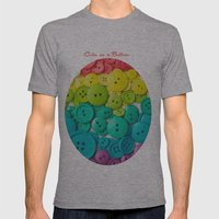 Cute As A Button Mens Fitted Tee Athletic Grey SMALL