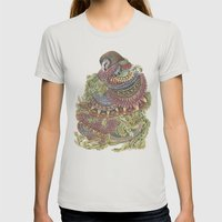 Quilted Forest: The Owl Womens Fitted Tee Silver SMALL