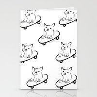 skate boarder french bull dog Stationery Cards
