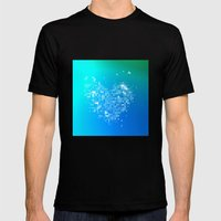 Heart2 Blue Mens Fitted Tee Black SMALL