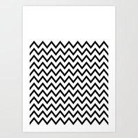 Black Chevron On White Art Print